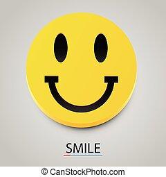 현대, 황색, 벡터, 웃음, smile., 행복하다