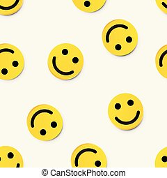 현대, seamless, 황색, 배경., 웃음, 미소, 행복하다
