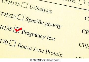 형태, 내과의, 요구, 표, 임신, 수표, test.