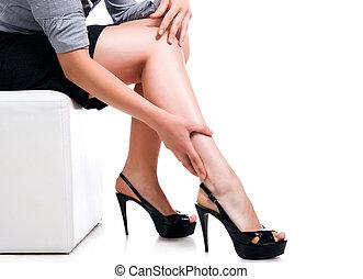호리호리한, 길게, 성적 매력이 있는, 여자, 다리