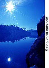 호수 반사, 와..., 태양