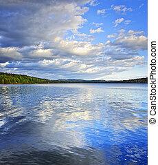 호수, 반영하는, 하늘