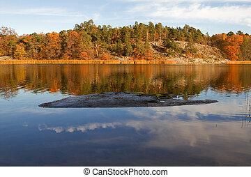 호수, 에서, autumn.