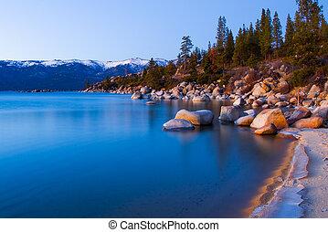 호수, 에, 일몰