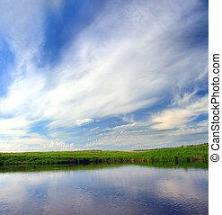 호수, 와..., 하늘, 배경