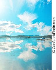 호수, 와..., 하늘