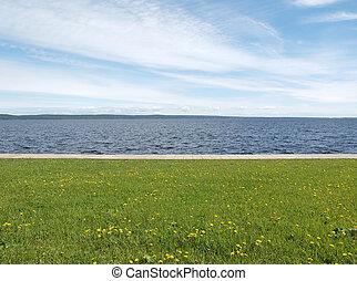 호수, 풀, 하늘