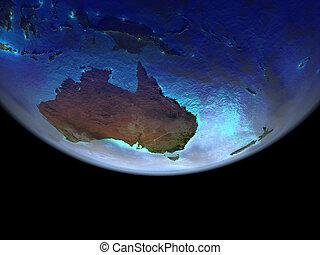 호주, 통하고 있는, 지구, 에서, 공간