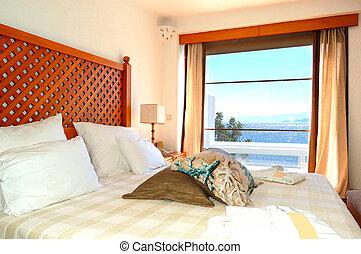 호텔, 아파트, 사치, 바다, 그리스, crete, 보이는 상태