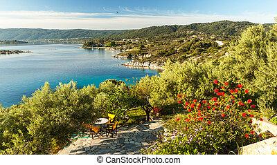 호텔, 아파트, halkidiki, 사치, 바다, 그리스, 보이는 상태