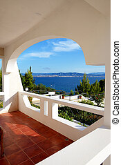 호텔, 아파트, peloponnes, 사치, 바다, 그리스, 보이는 상태