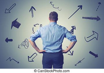 혼란한다, 실업가, 와, 방향, arrows., 선택하는, 그만큼, 은 방법을 보상한다, 결정, 개념