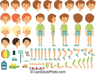 혼자서 젓는 길쭉한 보트, 만화, 소년, 창조, 마스코트, 연장 상자, 와, 아이들, 장난감, 와..., 다른, 본체 부품