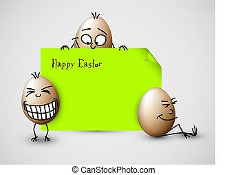혼자서 젓는 길쭉한 보트, 벡터, 부활절, 카드, 와, 달걀