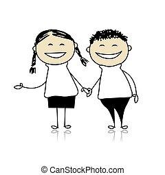 혼자서 젓는 길쭉한 보트, 소년, 한 쌍, -, 삽화, 디자인, 웃음, 함께, 소녀, 너의