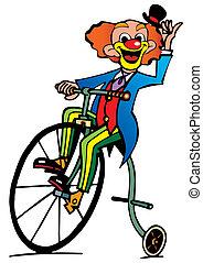 혼자서 젓는 길쭉한 보트, 어릿광대, 타는 것, a, bicycle.