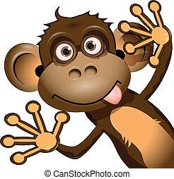 혼자서 젓는 길쭉한 보트, 원숭이