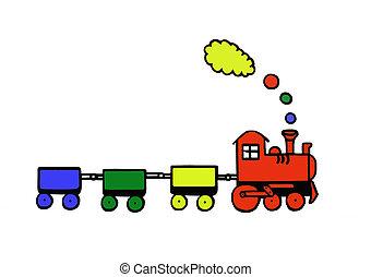 혼자서 젓는 길쭉한 보트, 장난감 기차