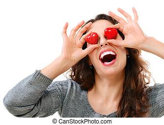 혼자서 젓는 길쭉한 보트, 즐거운, 소녀, 와, 발렌타인, 심혼, 위의, 그녀, 눈