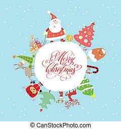 혼자서 젓는 길쭉한 보트, 크리스마스 카드, 귀여운