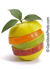 혼합한 과일, 신선한, 얇게 썰린다, 스택