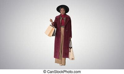 화려한, 모자, 경사, 미소, 쇼핑, 배경., 여자, 자세를 취함, 은 자루에 넣는다