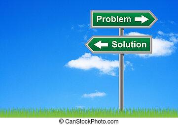 화살, 도로 표지, 문제, 해결, 통하고 있는, 하늘, 배경.