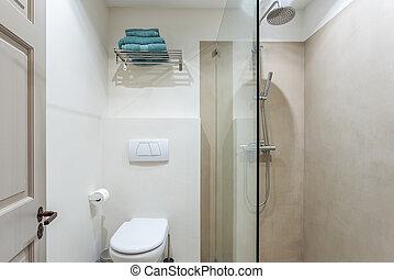 화장실, 욕실, 방, 현대, 샤워, amenities.