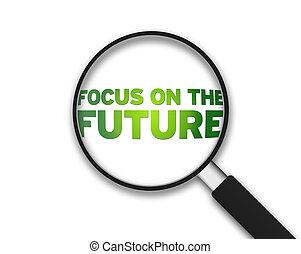 확대경, -, 초점, 통하고 있는, 미래