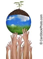 환경을 보호하는, 함께, 은 이다, 가능한