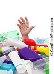 환경, 개념, 와, 플라스틱, 낭비