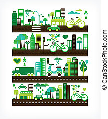 환경, 도시, 생태학, -, 녹색