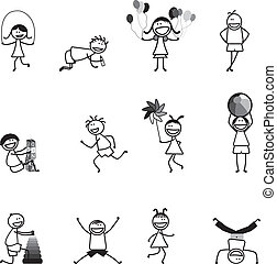 활동, 학교, 공, 재미, &, 알파벳, 소녀, 구획, 건너뜀, 노는 것, 소년, 다른, 검정, white...