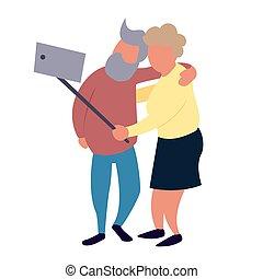 활동, 휴양, 노인, 한 쌍, selfie., 여가, 연장자, concept., 만들다