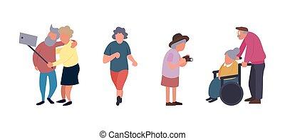 활동, 휴양, 사람., 그룹, 사람, concept., 성격, 여가, 연장자, 벡터, 배경., 여성, 능동의, 늙은, 연장자, 만화, 나이 먹은
