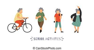 활동, 휴양, 옥외, 그룹, 사람, set., 여가, 삽화, 사람, sports., 벡터, 바람 빠진 타이어, 나이 먹은, 가다, 연장자, concept.