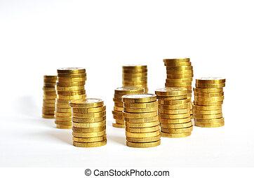 황금, 동전, 더미