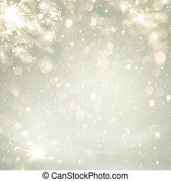 황금, 떼어내다, 고장신호, 희미해지는, stars., bokeh, defocused, 배경, 휴일,...