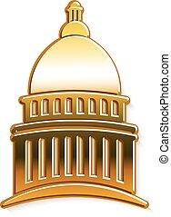 황금, 문자로 쓰는, 국회 의사당, 벡터, 디자인, logo.