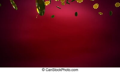 황금, 색, 카지노, 떨어짐, 칩, 빨강