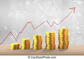 황금, 은 화폐로 주조한다, 더미, 와, 빨강 화살, 위로의, 경향, 도표