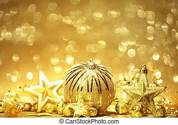 황금, 크리스마스, 배경