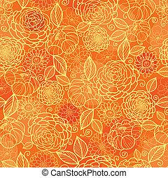 황금, 패턴, seamless, 직물, 오렌지 배경, 꽃의