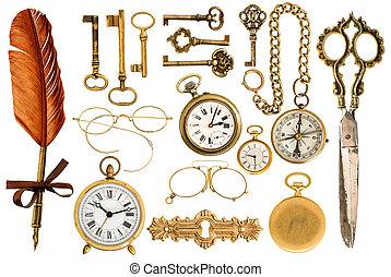 황금, 포도 수확, accessories., 옛날 키, 시계, 안경, 가위, 나침의