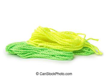 황색과 녹색, 끈, 치고는, 요요, 장난감