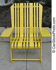 황색, 공원, 의자