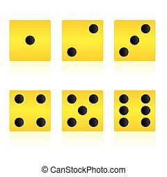 황색, 입방체, 벡터, 삽화, 치고는, 게임을 놀는