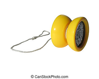 황색, 장난감, yo-yo.