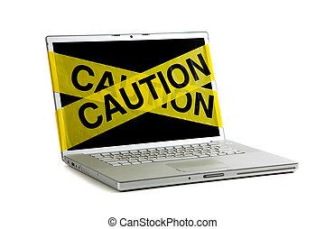 황색, 주의, 테이프, 통하고 있는, a, 컴퓨터 스크린