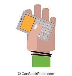 회색, 계산기, 보유, 사무실, 손